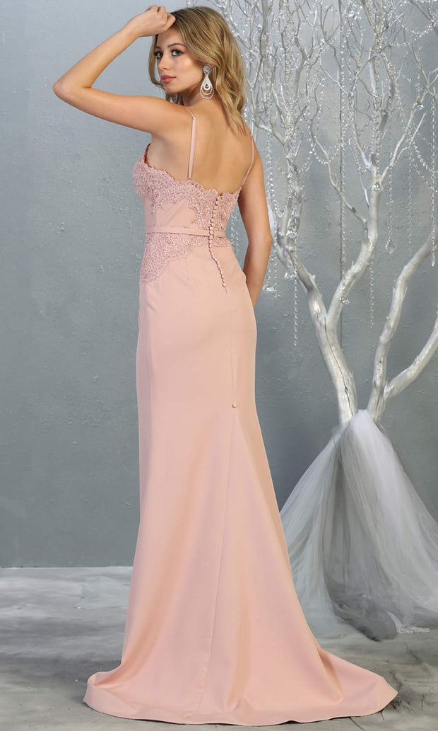 Mayqueen MQ1759 long dusty rose lace top evening fitted dress w/straps. Full length light pink gown is perfect for bridesmaids, enagagement/e-shoot dress, wedding guest dress, indowestern gown, formal evening party dress, prom. Plus sizes avail-b.jpg