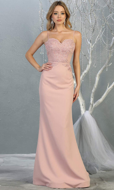 Mayqueen MQ1759 long dusty rose lace top evening fitted dress w/straps. Full length light pink gown is perfect for bridesmaids, enagagement/e-shoot dress, wedding guest dress, indowestern gown, formal evening party dress, prom. Plus sizes avail.jpg