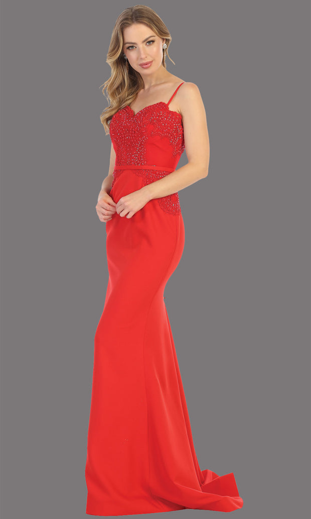 Mayqueen MQ1759 long red lace top evening fitted dress w/straps. Full length red gown is perfect for bridesmaids, enagagement/e-shoot dress, wedding guest dress, indowestern gown, formal evening party dress, prom. Plus sizes avail