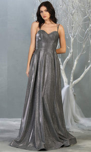 Mayqueen MQ1760 long charcoal gray metallic evening flowy dress w/straps. Full length dark grey gown is perfect for enagagement/e-shoot dress, wedding guest dress, indowestern gown, formal evening party dress, prom, wedding guest. Plus sizes avail.jpg