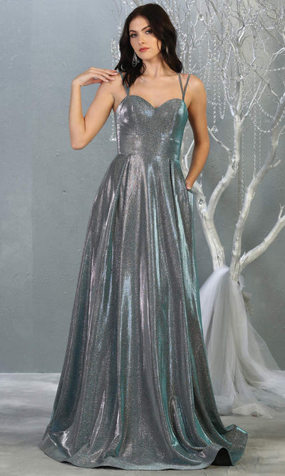 Mayqueen MQ1760 long dusty green metallic evening flowy dress w/straps. Full length dark green gown is perfect for enagagement/e-shoot dress, wedding guest dress, indowestern gown, formal evening party dress, prom, wedding guest. Plus sizes avail.jpg