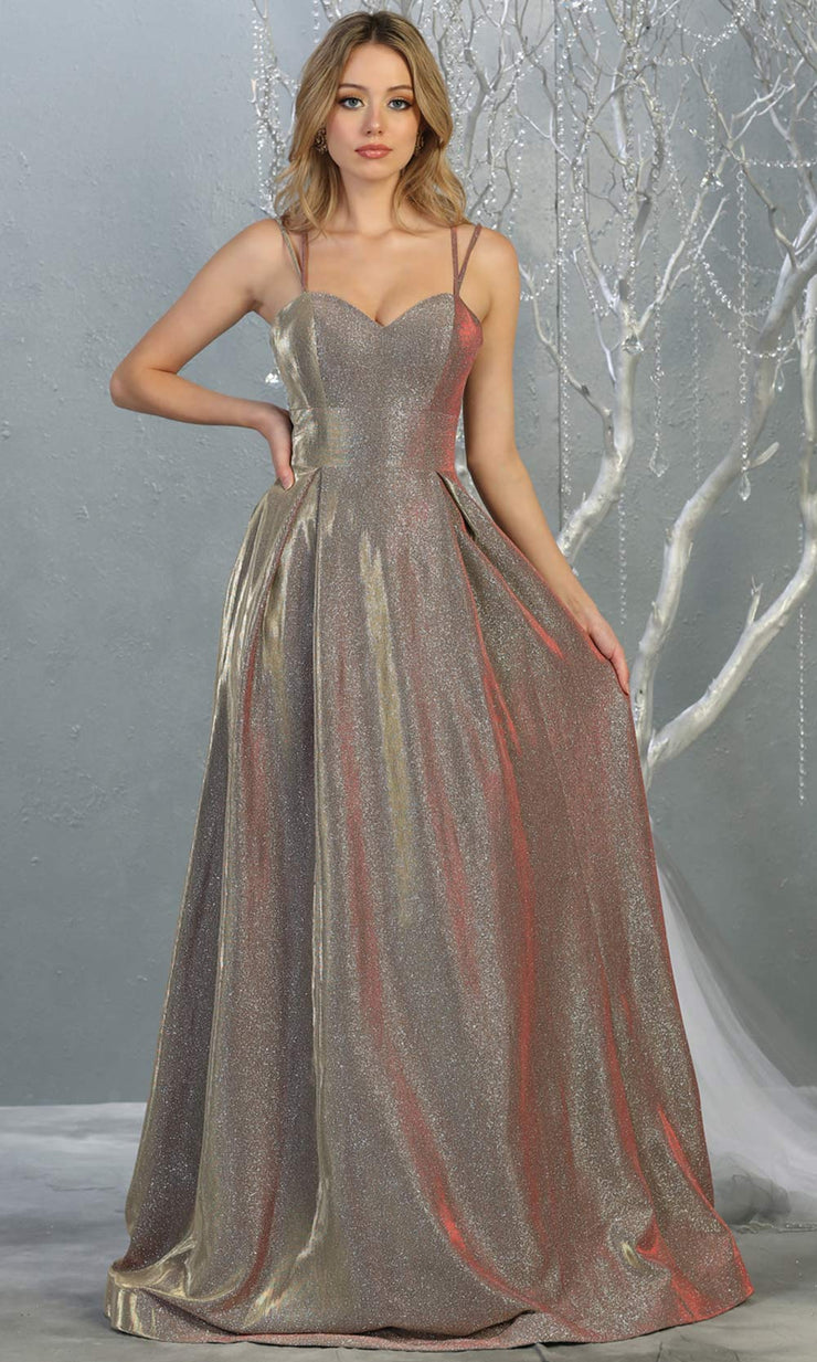 Mayqueen MQ1760 long mocha taupe metallic evening flowy dress w/straps. Full length mocha gown is perfect for enagagement/e-shoot dress, wedding guest dress, indowestern gown, formal evening party dress, prom, wedding guest. Plus sizes avail.jpg