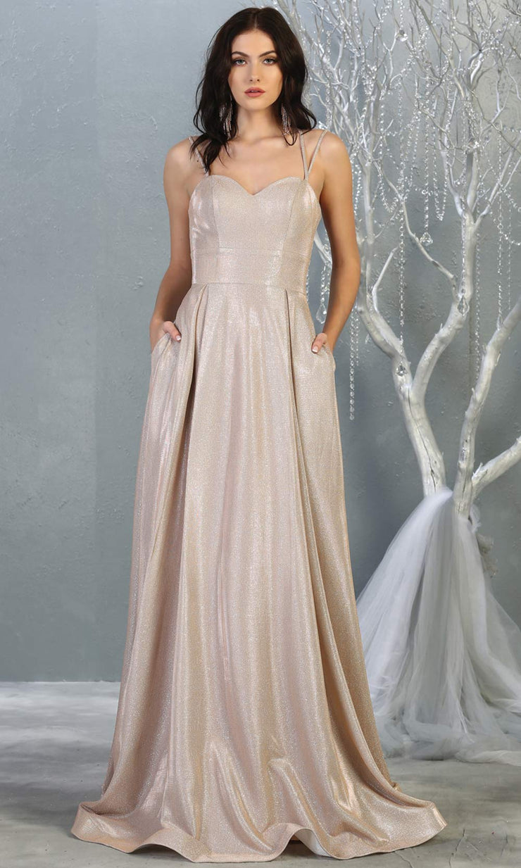 Mayqueen MQ1760 long rose gold metallic evening flowy dress w/straps. Full length rose gold gown is perfect for enagagement/e-shoot dress, wedding guest dress, indowestern gown, formal evening party dress, prom, wedding guest. Plus sizes avail.jpg