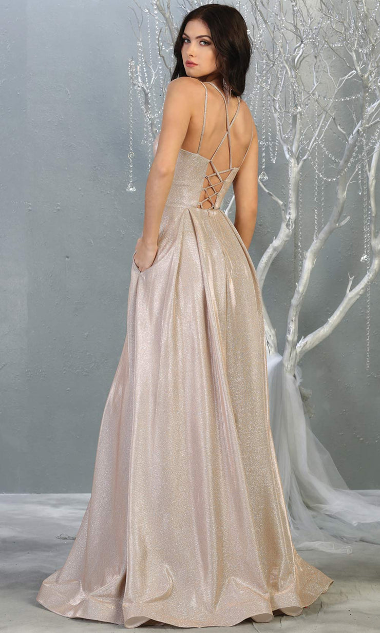 Mayqueen MQ1760 long rose gold metallic evening flowy dress w/straps. Full length rose gold gown is perfect for enagagement/e-shoot dress, wedding guest dress, indowestern gown, formal evening party dress, prom, wedding guest. Plus sizes avail-b.jpg