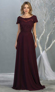 Mayqueen MQ1763 long dark purple flowy modest dress with cap sleeves & lace top. This eggplant purple dress is perfect for mother of the bride, formal wedding guest dress, covered up evening dress. It has a high neck & high back. Plus sizes avail.jpg