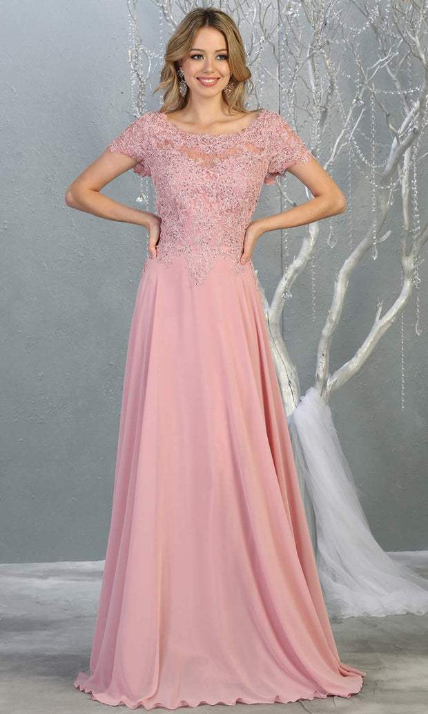 Mayqueen MQ1763 long dusty rose flowy modest dress with cap sleeves & lace top. This light pink dress is perfect for mother of the bride, formal wedding guest dress, covered up evening dress. It has a high neck & high back. Plus sizes avail.jpg