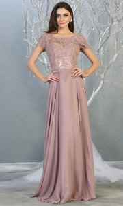 Mayqueen MQ1763 long mauve pink flowy modest dress with cap sleeves & lace top. This dusty rose dress is perfect for mother of the bride, formal wedding guest dress, covered up evening dress. It has a high neck & high back. Plus sizes avail.jpg