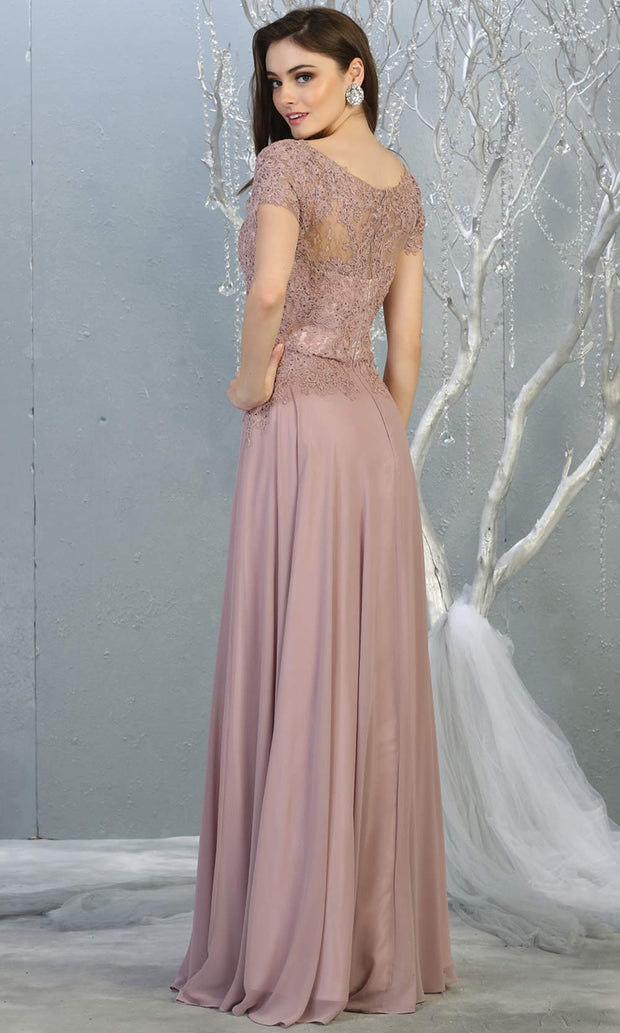 Mayqueen MQ1763 long mauve pink flowy modest dress with cap sleeves & lace top. This dusty rose dress is perfect for mother of the bride, formal wedding guest dress, covered up evening dress. It has a high neck & high back. Plus sizes avail-b.jpg