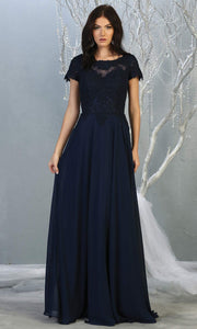Mayqueen MQ1763 long navy blue flowy modest dress with cap sleeves & lace top. This dark blue dress is perfect for mother of the bride, formal wedding guest dress, covered up evening dress. It has a high neck & high back. Plus sizes avail.jpg