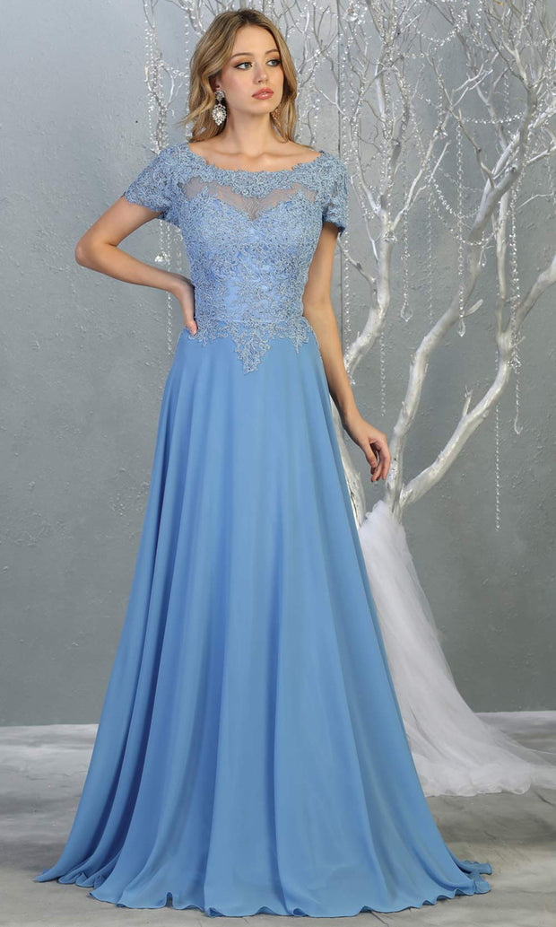 Mayqueen MQ1763 long perry blue flowy modest dress with cap sleeves & lace top. This light blue dress is perfect for mother of the bride, formal wedding guest dress, covered up evening dress. It has a high neck & high back. Plus sizes avail.jpg
