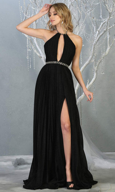 Mayqueen MQ1764 long black sleek & sexy dress features a high slit, open back, keyhole high neck top. Perfect for 2020 prom, sexy wedding guest dress. Plus sizes available.jpg