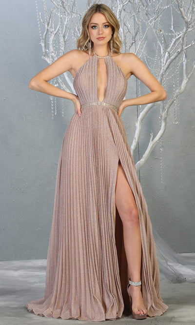 Mayqueen MQ1764 long rose gold sleek & sexy dress features a high slit, open back, keyhole high neck top. Perfect for 2020 prom, sexy wedding guest dress. Plus sizes available.jpg