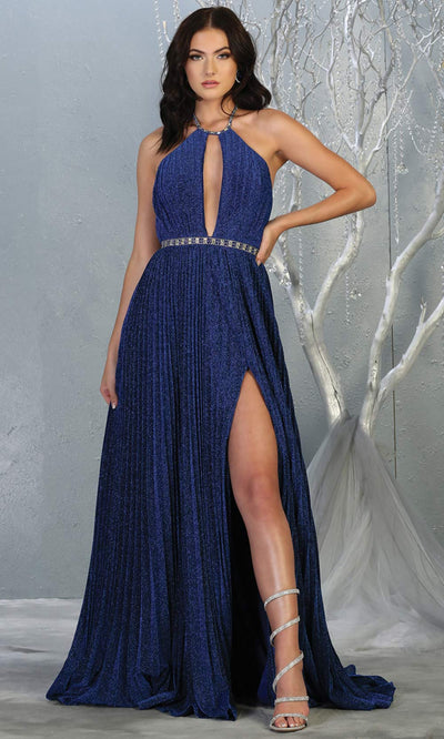 Mayqueen MQ1764 long royal blue sleek & sexy dress features a high slit, open back, keyhole high neck top. Perfect blue dress for 2020 prom, sexy wedding guest dress. Plus sizes available.jpg