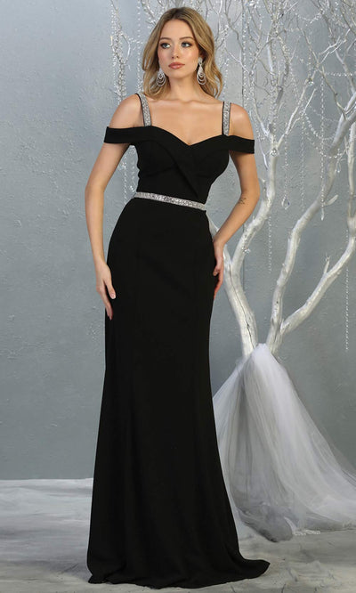 Mayqueen MQ1765 long black fitted dress with rhinestone belt and cold shoulder neckline. This sleek & sexy simple dress is perfect for bridesmaids, gala, formal wedding guest dress, evening party dress. Plus sizes available.jpg