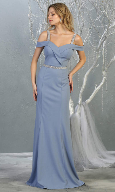 Mayqueen MQ1765 long dusty blue fitted dress with rhinestone belt and cold shoulder neckline. This blue grey sleek & sexy simple dress is perfect for bridesmaids, gala, formal wedding guest dress, evening party dress. Plus sizes available.jpg