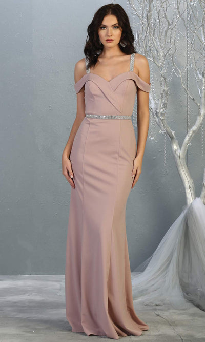 Mayqueen MQ1765 long mauve pink fitted dress with rhinestone belt and cold shoulder neckline. This dusty rose sleek & sexy simple dress is perfect for bridesmaids, gala, formal wedding guest dress, evening party dress. Plus sizes available.jpg