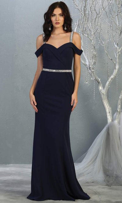 Mayqueen MQ1765 long navy blue fitted dress with rhinestone belt and cold shoulder neckline. This dark blue sleek & sexy simple dress is perfect for bridesmaids, gala, formal wedding guest dress, evening party dress. Plus sizes available.jpg