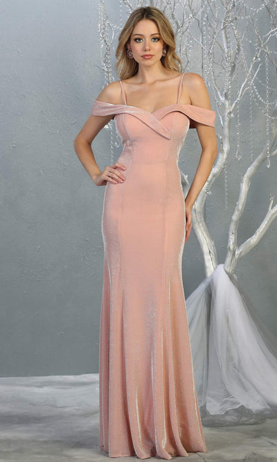 Mayqueen MQ1767 long rose gold fitted sleek & sexy metallic dress with cold shoulder. Perfect simple light pink tight fitted dress for bridesmaids, formal wedding guest dress, indowestern party dress. Plus sizes avail.jpg