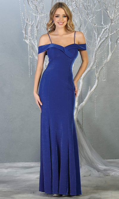 Mayqueen MQ1767 long royal blue fitted sleek & sexy metallic dress with cold shoulder. Perfect simple royal blue tight fitted dress for bridesmaids, formal wedding guest dress, indowestern party dress. Plus sizes avail.jpg