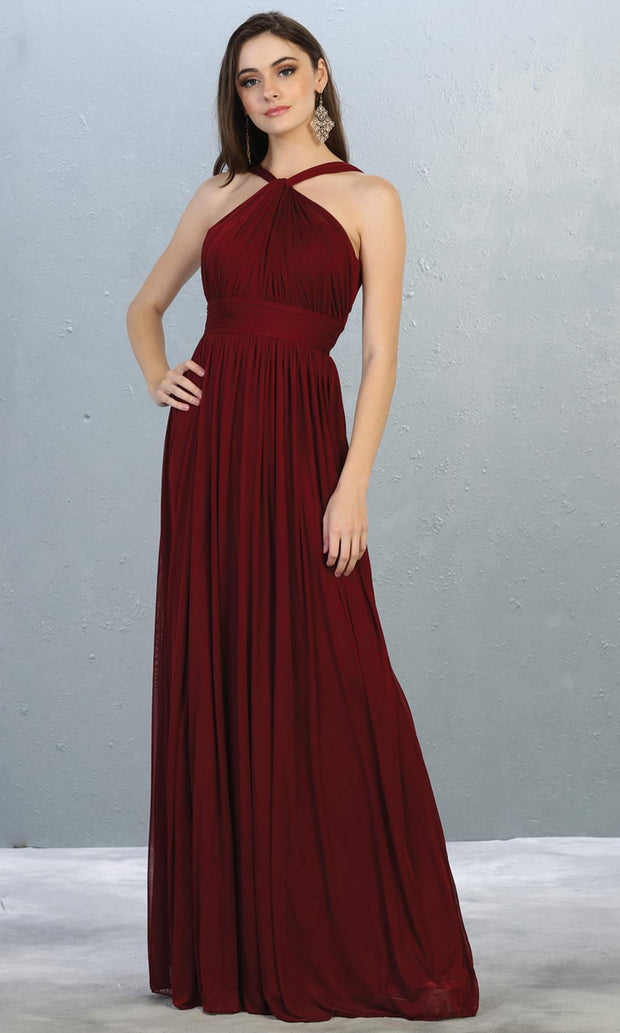 Mayqueen MQ1769 long burgundy red flowy dress with high neck. This simple evening party dress is perfect for bridesmaids, wedding guest dress, simple prom dress. Plus sizes available.jpg