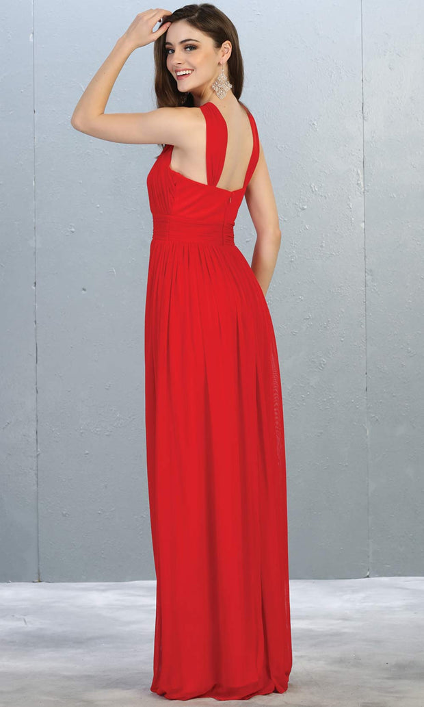 Mayqueen MQ1769 long red flowy dress with high neck. This simple red evening party dress is perfect for bridesmaids, wedding guest dress, simple prom dress. Plus sizes available-b.jpg