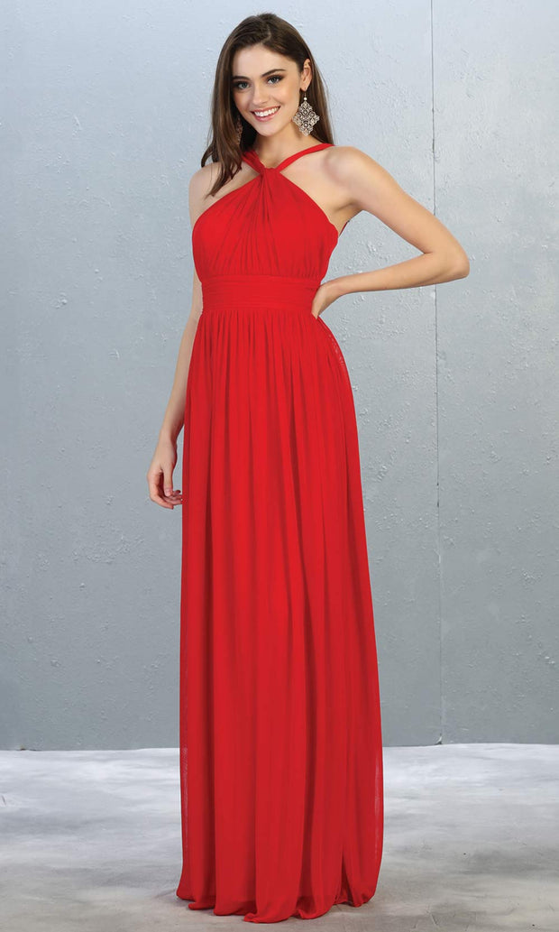 Mayqueen MQ1769 long red flowy dress with high neck. This simple red evening party dress is perfect for bridesmaids, wedding guest dress, simple prom dress. Plus sizes available.jpg