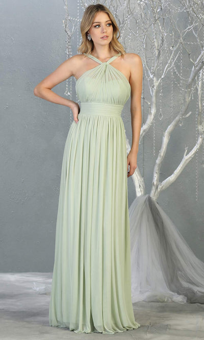 Mayqueen MQ1769 long sage green flowy dress with high neck. This simple light green evening party dress is perfect for bridesmaids, wedding guest dress, simple prom dress. Plus sizes available.jpg