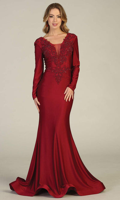 Mayqueen MQ1772 long burgundy red v neck fitted sleek & sexy dress w/long sleeves. Perfect for prom, engagement dress, e-shoot dress, formal wedding guest dress, debut, quinceanera, sweet 16, gala. Plus sizes avail in this dusty blue semi ballgown.jpg