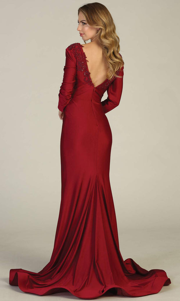 Mayqueen MQ1772 long burgundy red v neck fitted sleek & sexy dress w/long sleeves. Perfect for prom, engagement dress, e-shoot dress, formal wedding guest dress, debut, quinceanera, sweet 16, gala. Plus sizes avail in this dusty blue semi ballgown-b.jpg
