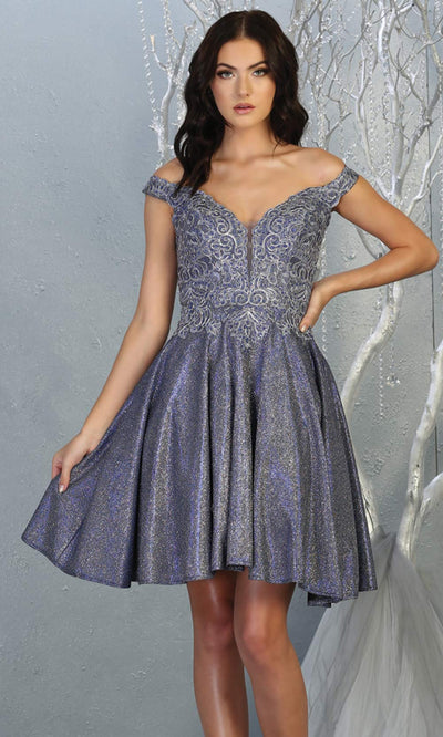 Mayqueen MQ1774 short royal metallic flowy v neck glittery sequin grade 8 graduation dress w/ straps. Royal blue party dress is perfect for prom,graduation, grade 8 grad, confirmation dress, bat mitzvah dress, damas. Plus sizes avail for grad dress.jpg