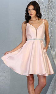 Mayqueen MQ1775 short blush pink satin flowy vneck simple grade 8 graduation dress w/ straps & low back. Light pink party dress is perfect for prom,graduation, grade 8 grad, confirmation dress, bat mitzvah dress, damas. Plus sizes avail for grad dress.jpg
