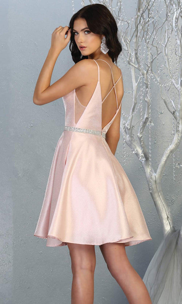 Mayqueen MQ1775 short blush pink satin flowy vneck simple grade 8 graduation dress w/ straps & low back. Pink party dress is perfect for prom, graduation, grade 8 grad, confirmation dress, bat mitzvah dress, damas. Plus sizes avail for grad dress-back.jpg