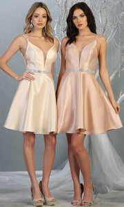 Mayqueen MQ1775 short champagne satin flowy vneck simple grade 8 graduation dress w/ straps & low back. Light gold party dress is perfect for prom, graduation, grade 8 grad, confirmation dress, bat mitzvah dress, damas. Plus sizes avail for grad dress.jpg