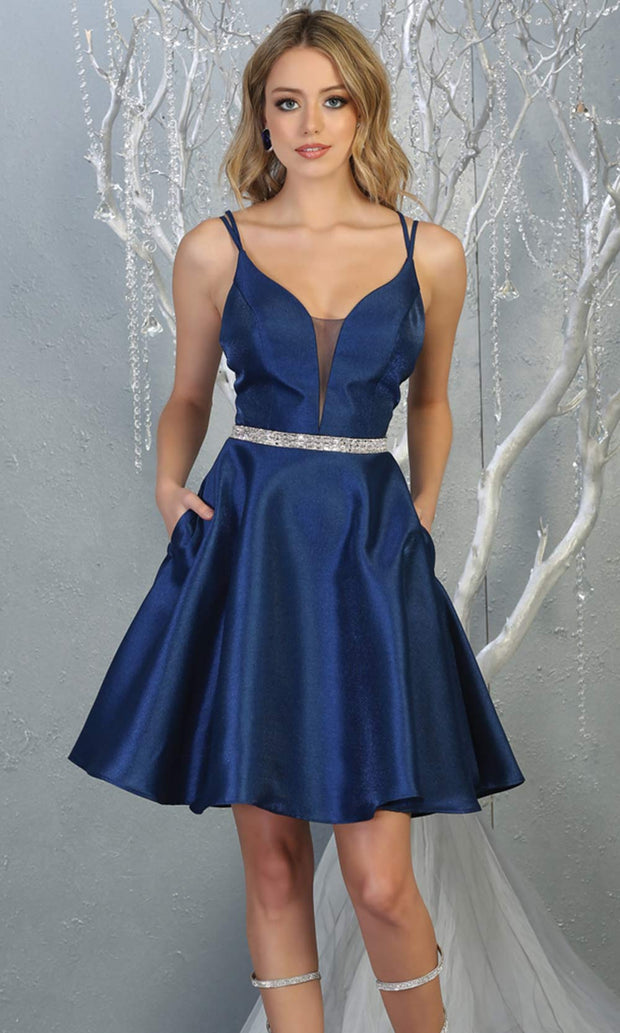 Mayqueen MQ1775 short navy blue satin flowy vneck simple grade 8 graduation dress w/ straps & low back. Dark blue party dress is perfect for prom, graduation, grade 8 grad, confirmation dress, bat mitzvah dress, damas. Plus sizes avail for grad dress.jpg