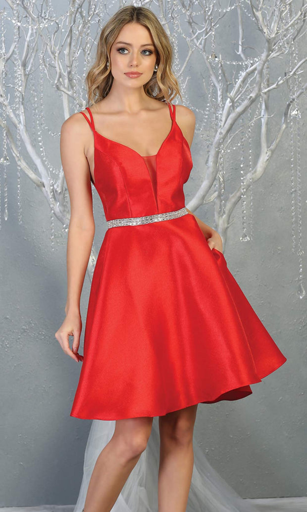 Mayqueen MQ1775 short red satin flowy v neck simple grade 8 graduation dress w/ straps & low back. Red party dress is perfect for prom, graduation, grade 8 grad, confirmation dress, bat mitzvah dress, damas. Plus sizes avail for grad dress.jpg