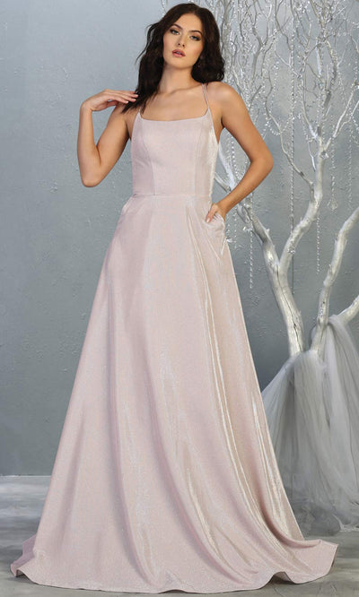 Mayqueen MQ1776 long pink scoop neck flowy glittery metallic dress with corset back. Perfect for prom, engagement dress, e-shoot dress, formal wedding guest dress, debut, quinceanera, sweet 16, gala. Plus sizes avail in this pink semi ballgown.jpg