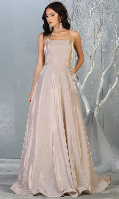 Mayqueen MQ1776 long rose gold scoop neck flowy glittery metallic dress with corset back. Perfect for prom, engagement dress, e-shoot dress, formal wedding guest dress, debut, quinceanera, sweet 16, gala. Plus sizes avail in this rose semi ballgown.jpg