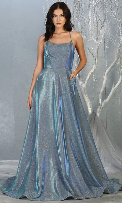 Mayqueen MQ1776 long royal bue scoop neck flowy glittery metallic dress with corset back. Perfect for prom, engagement dress, e-shoot dress, formal wedding guest dress, debut, quinceanera, sweet 16, gala. Plus sizes avail in this royal semi ballgown.jpg