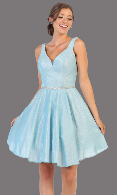 Mayqueen MQ1777 short baby blue metallic flowy simple grade 8 graduation dress w/ straps & belt. Light blue party dress is perfect for graduation, grade 8 grad, confirmation dress, bat mitzvah dress, damas. Plus sizes avail for grad dress