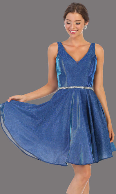 Mayqueen MQ1777 short royal blue metallic flowy simple grade 8 graduation dress w/ straps & belt. Royal blue party dress is perfect for graduation, grade 8 grad, confirmation dress, bat mitzvah dress, damas. Plus sizes avail for grad dress