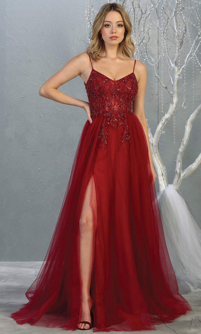 Mayqueen MQ1778 long burgundy red scoop neck flowy tulle skirt dress with high slit. Perfect for prom, engagement dress, e-shoot dress, formal wedding guest dress, debut, quinceanera, sweet 16, gala. Plus sizes avail in this dark red semi ballgown.jpg