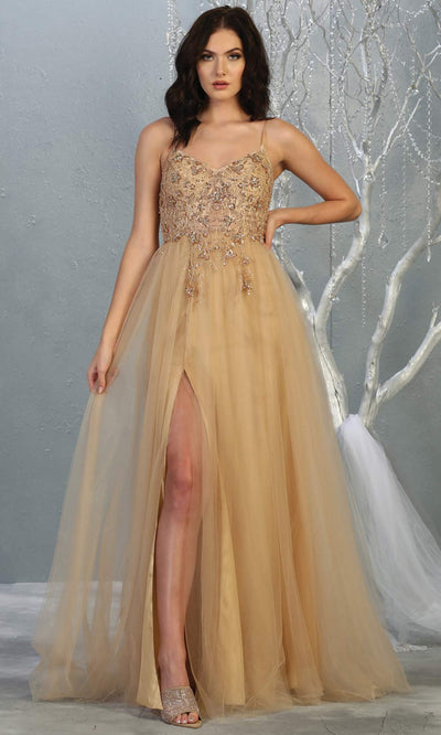 Mayqueen MQ1778 long champagne scoop neck flowy tulle skirt dress with high slit. Perfect for prom, engagement dress, e-shoot dress, formal wedding guest dress, debut, quinceanera, sweet 16, gala. Plus sizes avail in this light gold semi ballgown.jpg
