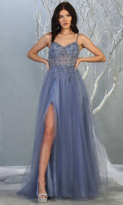 Mayqueen MQ1778 long dusty blue scoop neck flowy tulle skirt dress with high slit. Perfect for prom, engagement dress, e-shoot dress, formal wedding guest dress, debut, quinceanera, sweet 16, gala. Plus sizes avail in this blue semi ballgown.jpg