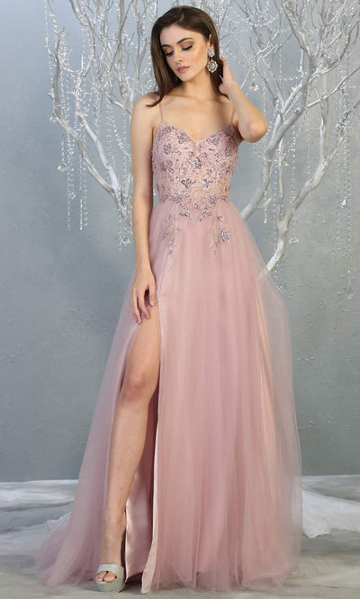 Mayqueen MQ1778 long mauve pink scoop neck flowy tulle skirt dress with high slit. Perfect for prom, engagement dress, e-shoot dress, formal wedding guest dress, debut, quinceanera, sweet 16, gala. Plus sizes avail in this dusty rose semi ballgown.jpg