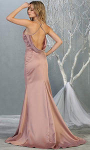 Mayqueen MQ1779 long mauve pink v neck fitted satin dress with open back & train. Perfect for prom, engagement dress, e-shoot dress, formal wedding guest dress, gala. Plus sizes avail in this light pink sleek & sexy dress-back.jpg
