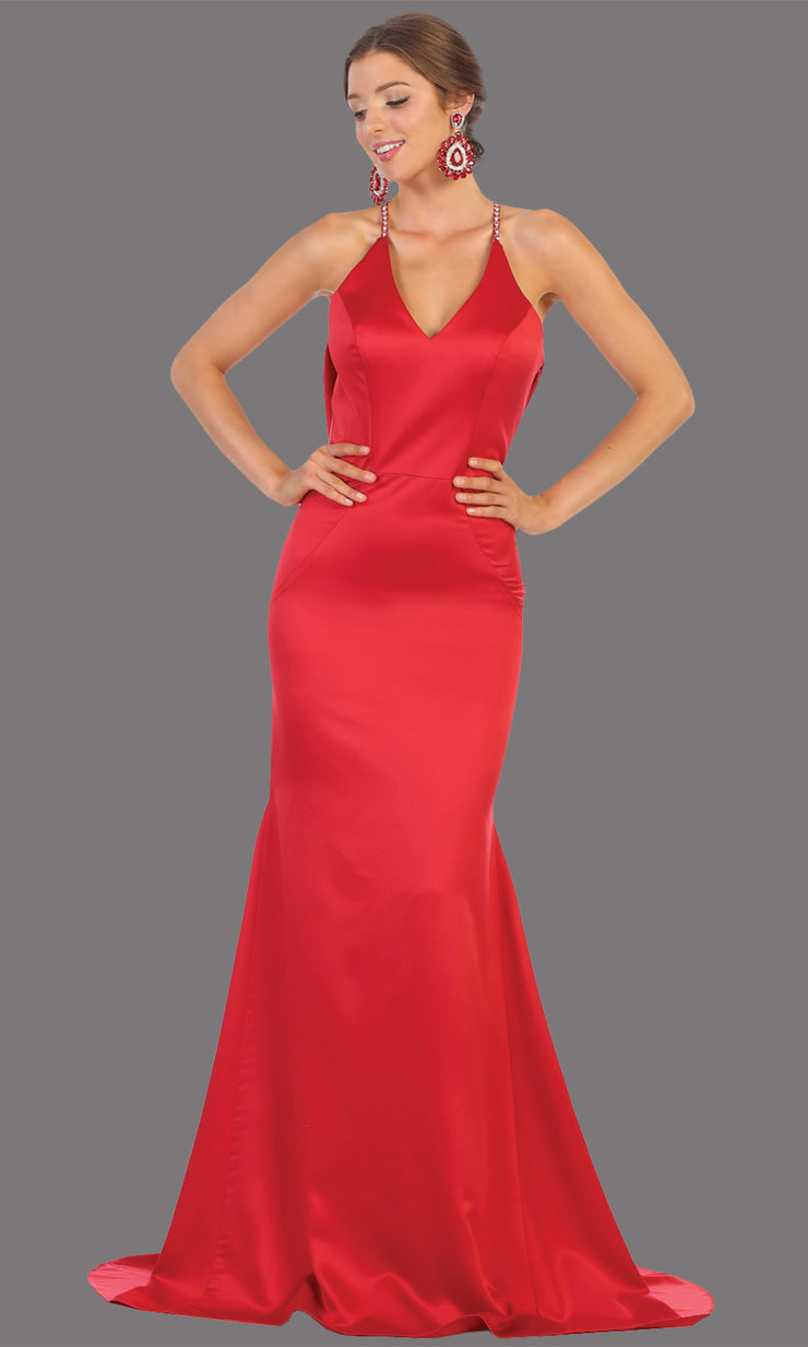 Mayqueen MQ1779 long red v neck fitted satin dress with open back & train. Perfect for prom, engagement dress, e-shoot dress, formal wedding guest dress, gala. Plus sizes avail in this red sleek & sexy dress.jpg