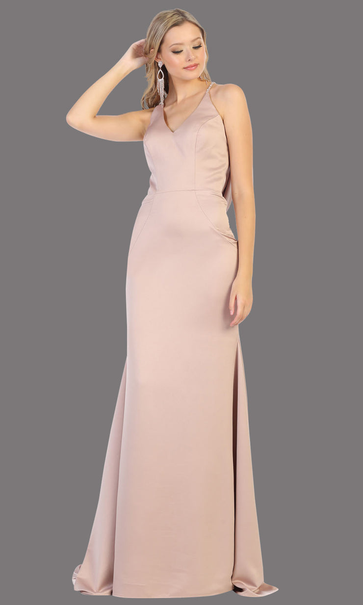 Mayqueen MQ1779 long taupe v neck fitted satin dress with open back & train. Perfect for prom, engagement dress, e-shoot dress, formal wedding guest dress, gala. Plus sizes avail in this taupe sleek & sexy dress.jpg