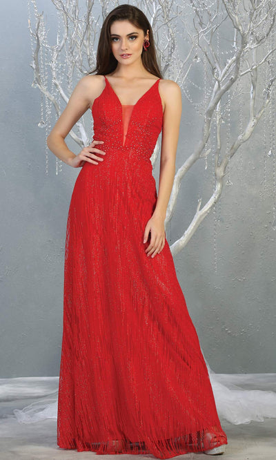 Mayqueen MQ1780 long red v neck flowy glittery sequin dress with corset back. Perfect for prom, engagement dress, e-shoot dress, formal wedding guest dress, debut, quinceanera, sweet 16, gala. Plus sizes avail in this red flowy dress.jpg