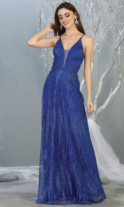 Mayqueen MQ1780 long royal blue v neck flowy glittery sequin dress with corset back. Perfect for prom, engagement dress, e-shoot dress, formal wedding guest dress, debut, quinceanera, sweet 16, gala. Plus sizes avail in this blue flowy dress.jpg