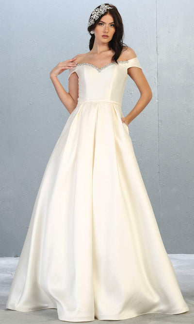 Mayqueen MQ1784-long ivory satin simple flowy bridal off shoulder dress. White formal dress is perfect for wedding bridal dress, white prom dress, simple wedding,second wedding, destination wedding dress, second wedding dress.Plus sizes avail.jpg